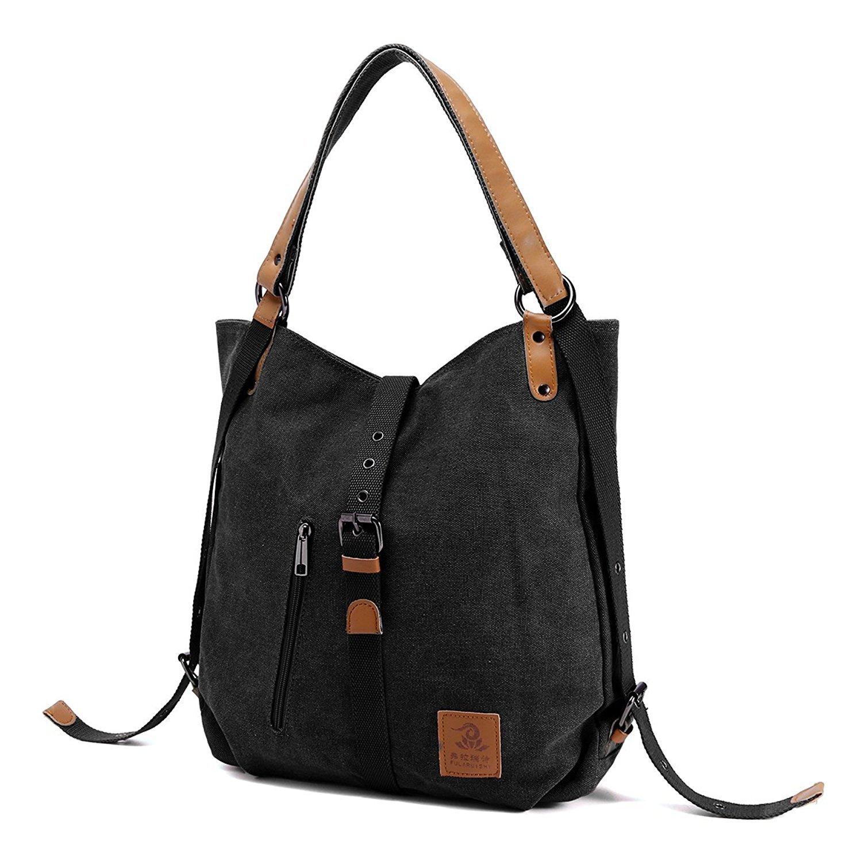 Unisex Canvas Shoulder Bag Casual Travel Daypack Backpack Large Capacity Handbag Messenger Hobo Tote Bag (Black)