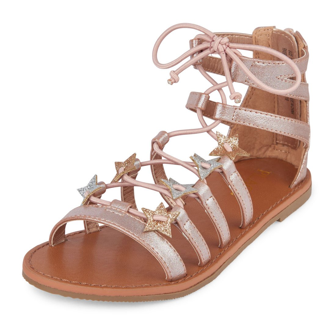 The Children's Place Girls' BG Star Candy GL Sandal, Rose Gold, Youth 2 Youth US Big Kid