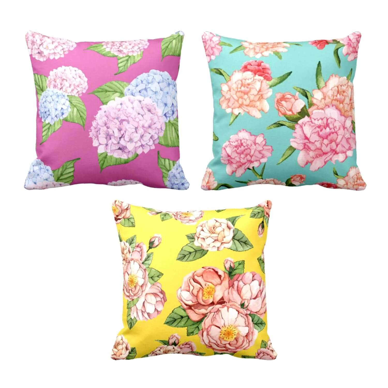 Buy Theyayacafe 24x24 Inches Set Of 3 Cushion Covers Pleasing Symmetrical Floral Flowers Printed Sofa Throw Pillows Multicolor Online At Low Prices In India Amazon In
