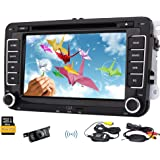 Wiereless camera included Free canbus 8GB gps map card offered gps navigator car cd dvd player mp3 video car radio support BT audio car stereo 7inch Double din Headunit For VW Autoradio bluetooth FM AM USB SD steering wheel control Automotive+Free CANBUS