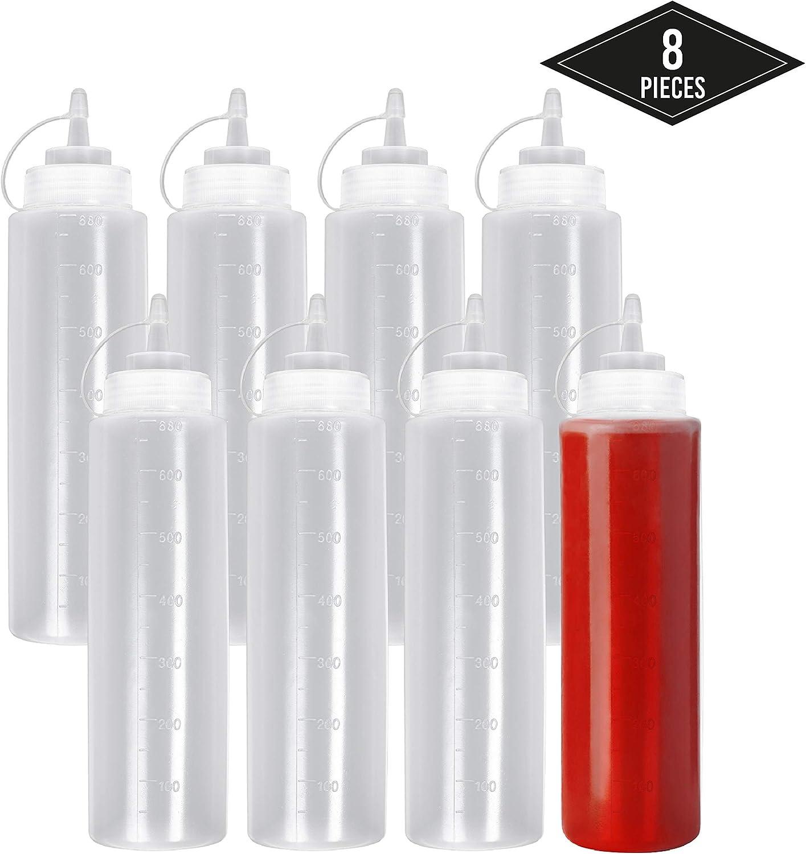 8 Pack Biberon Salsas con Tapas de Rosca, Grandes 680ml - Dispensador de Botellas de Plástico para Condimentos Ketchup Mostaza Vinagre Salsa Aceite - a Prueba de Fugas y Libre de BPA.