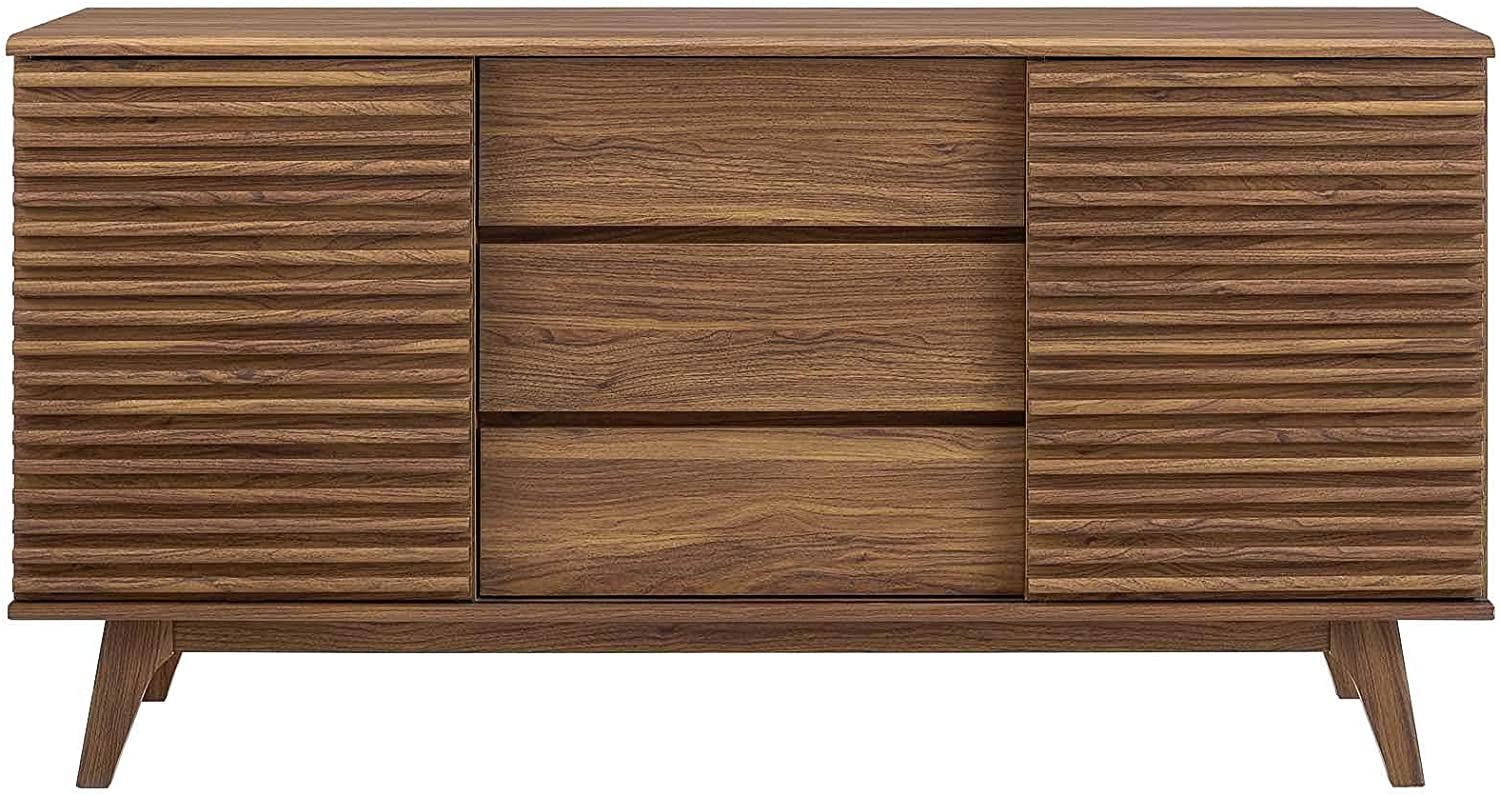 Amazon Com Modway Render 63 Mid Century Modern Sideboard Buffet Table Or Tv Stand In Walnut Furniture Decor