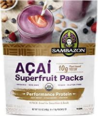 SAMBAZON Organic Performance Protein Açaí Superfruit Packs - Açaí Berry, Vegan Protein, and Strawberry Smoothie Packets, 110g
