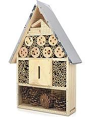 Navaris casetta per Insetti in Legno - rifugio Ecologico per Farfalle vespe api coleotteri 23 x 40 x 7cm XL Nido Tetto in Metallo - Materiali Naturali