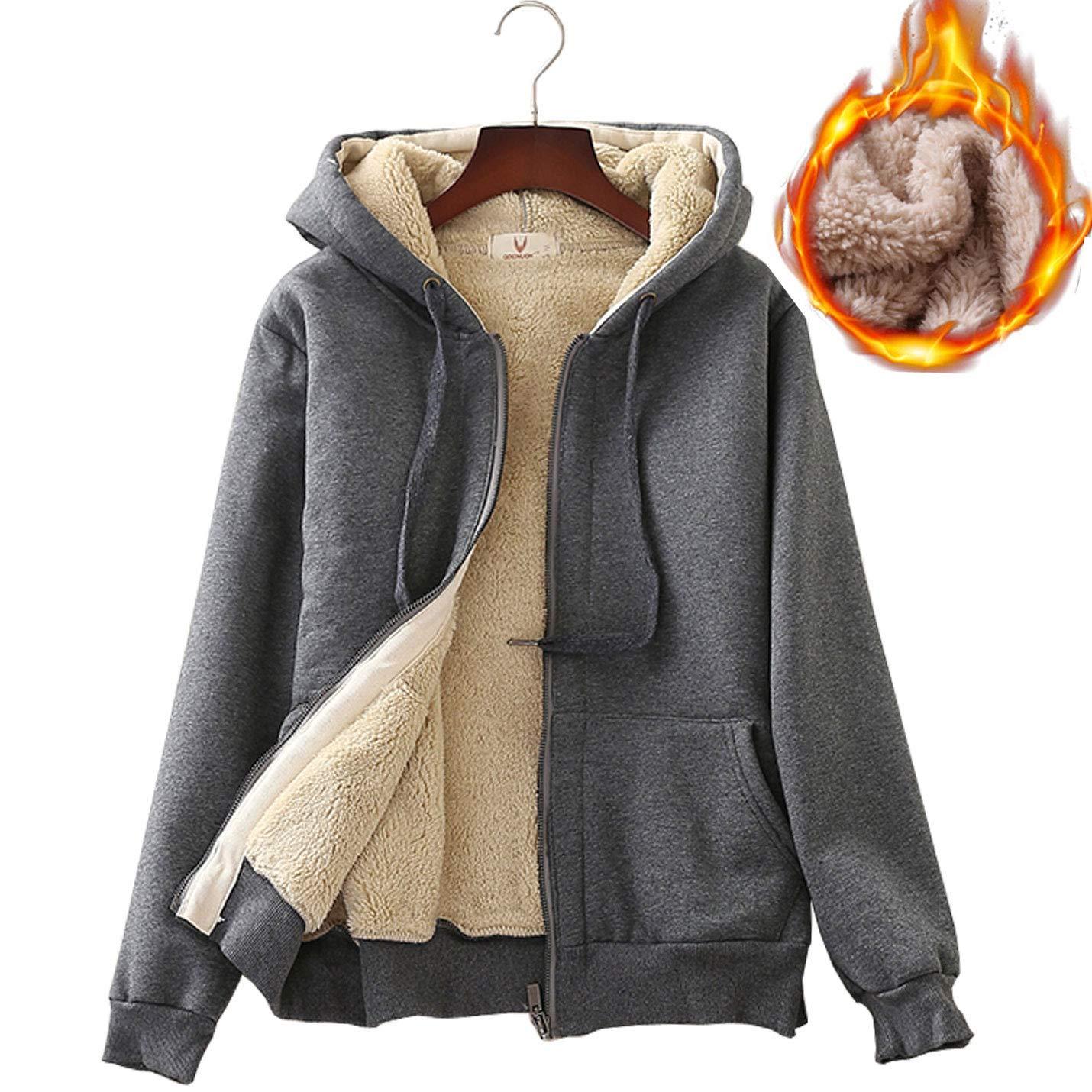 Grey Flygo Women's Casual Winter Warm Thick Sherpa Lined Zipper Hooded Sweatshirt Jacket