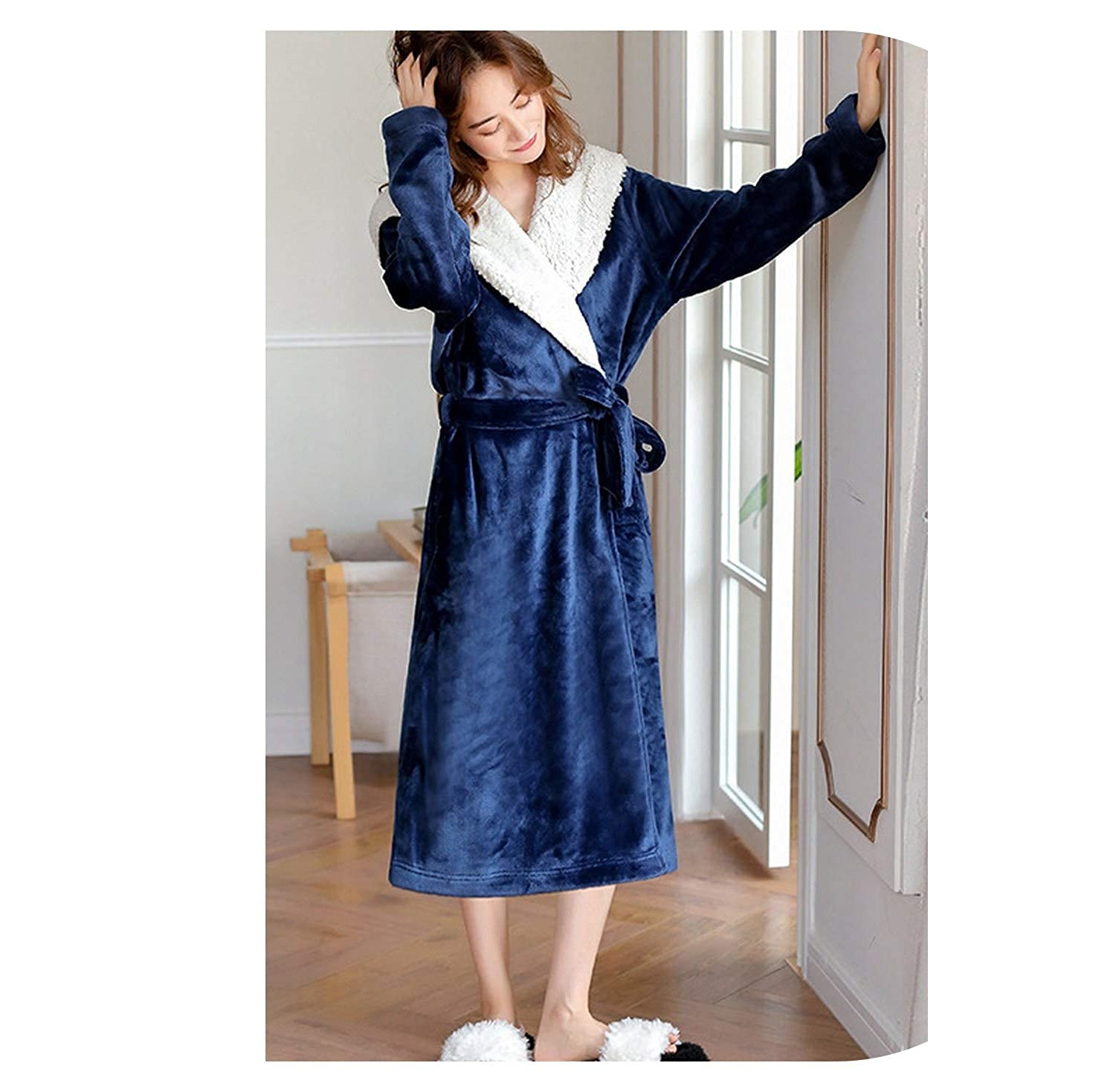 bluee TheUniqueHouse Fashion Sexy LongSleeve Thicken Warm Bathrobes Winter Simple Kimono Robes women