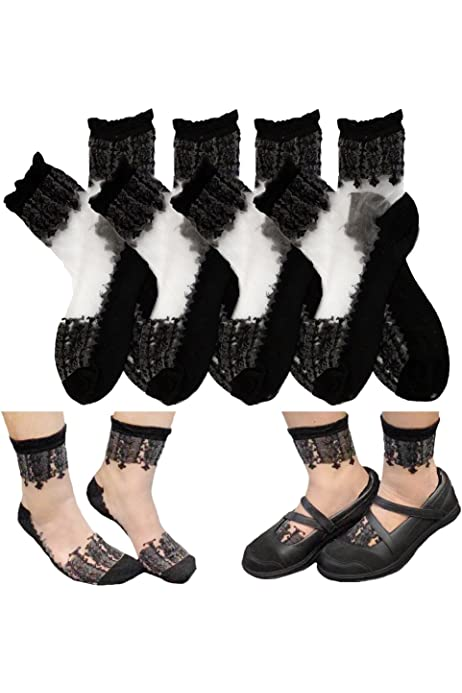 Womens Ankle High Transparent Floral Lace Ruffle Top Ultra-thin Sheer Socks (Pack of 4)