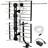 PBD Outdoor Digital HD TV Antenna with High Gain Amplifier 150 Mile Long Range for UHF/VHF, Mounting Pole, 40FT RG6 Coaxial C