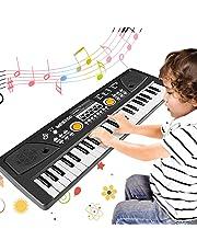 WOSTOO Teclado Electrónico Piano 61 Teclas, Teclado de Piano Portátil con Atril, Micrófono,