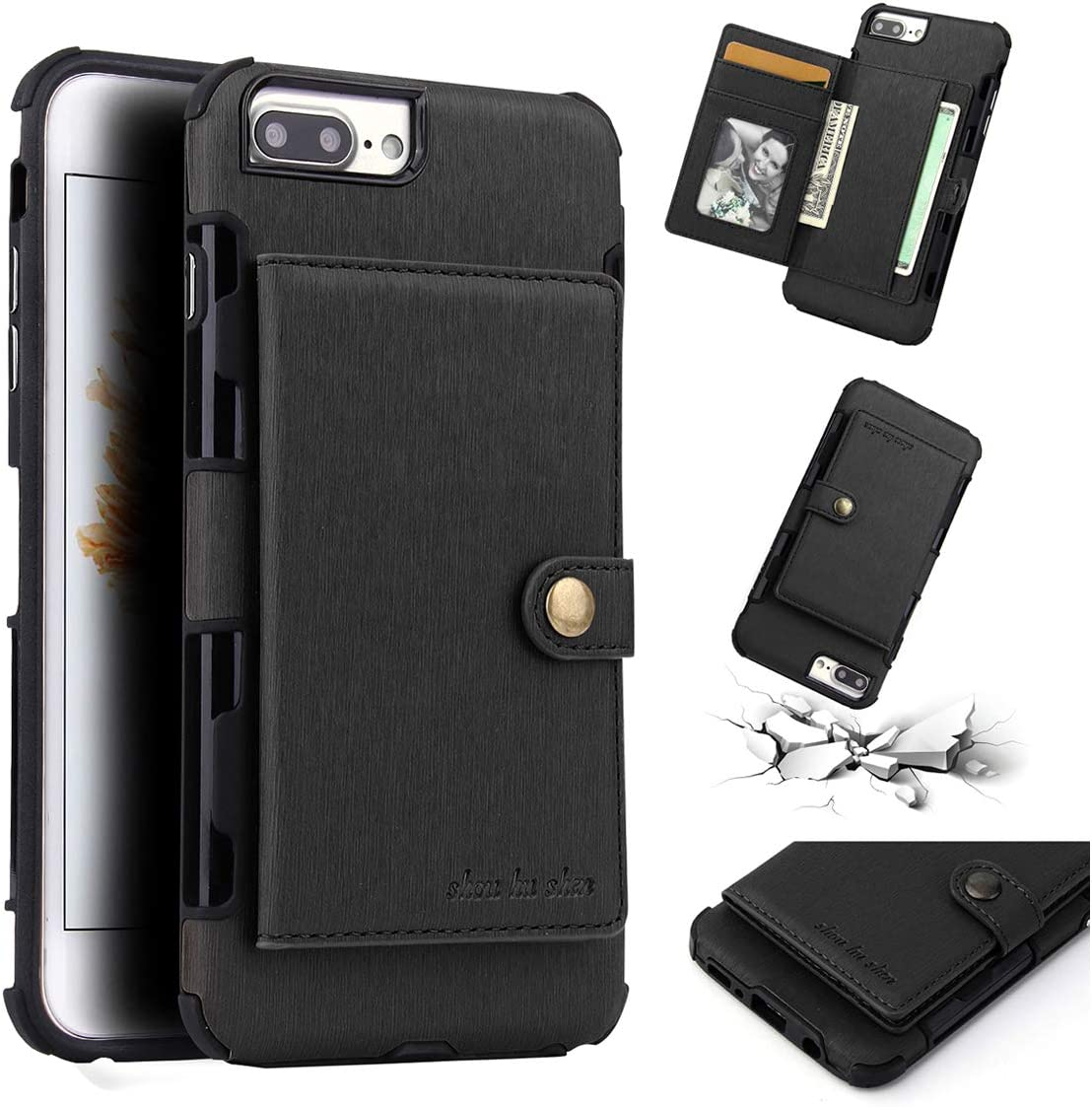COPAAD iPhone 6 Plus / 6s Plus / 7 Plus / 8 Plus Wallet Case, Credit Card Holder Soft Brushed Texture PU Leather Shockproof Wallet Case for iPhone 6/6s/7/8 Plus, Black