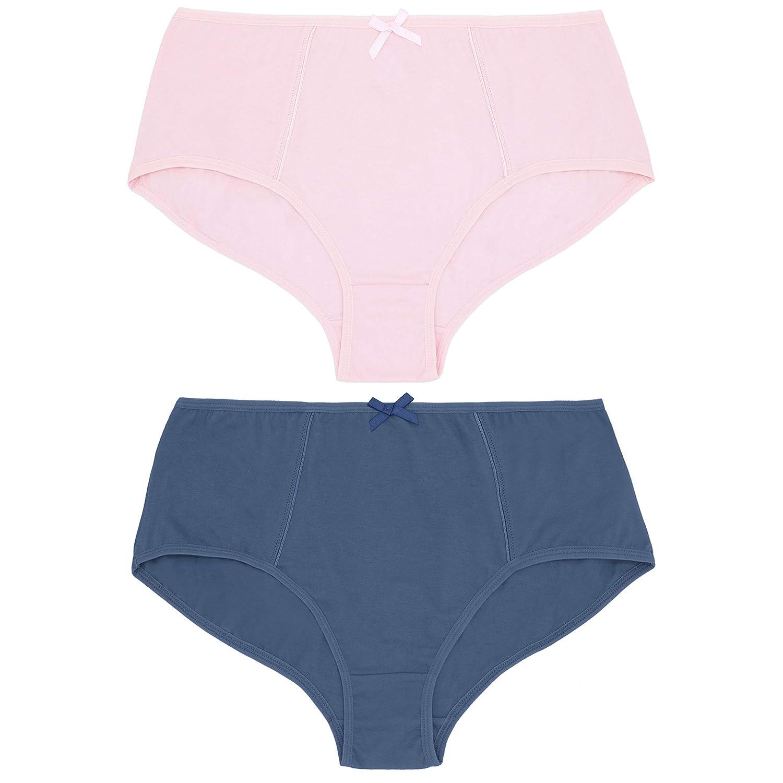 Curve Muse Womens Plus Size 100/% Cotton High Waist Hipster Briefs Panties-6PK