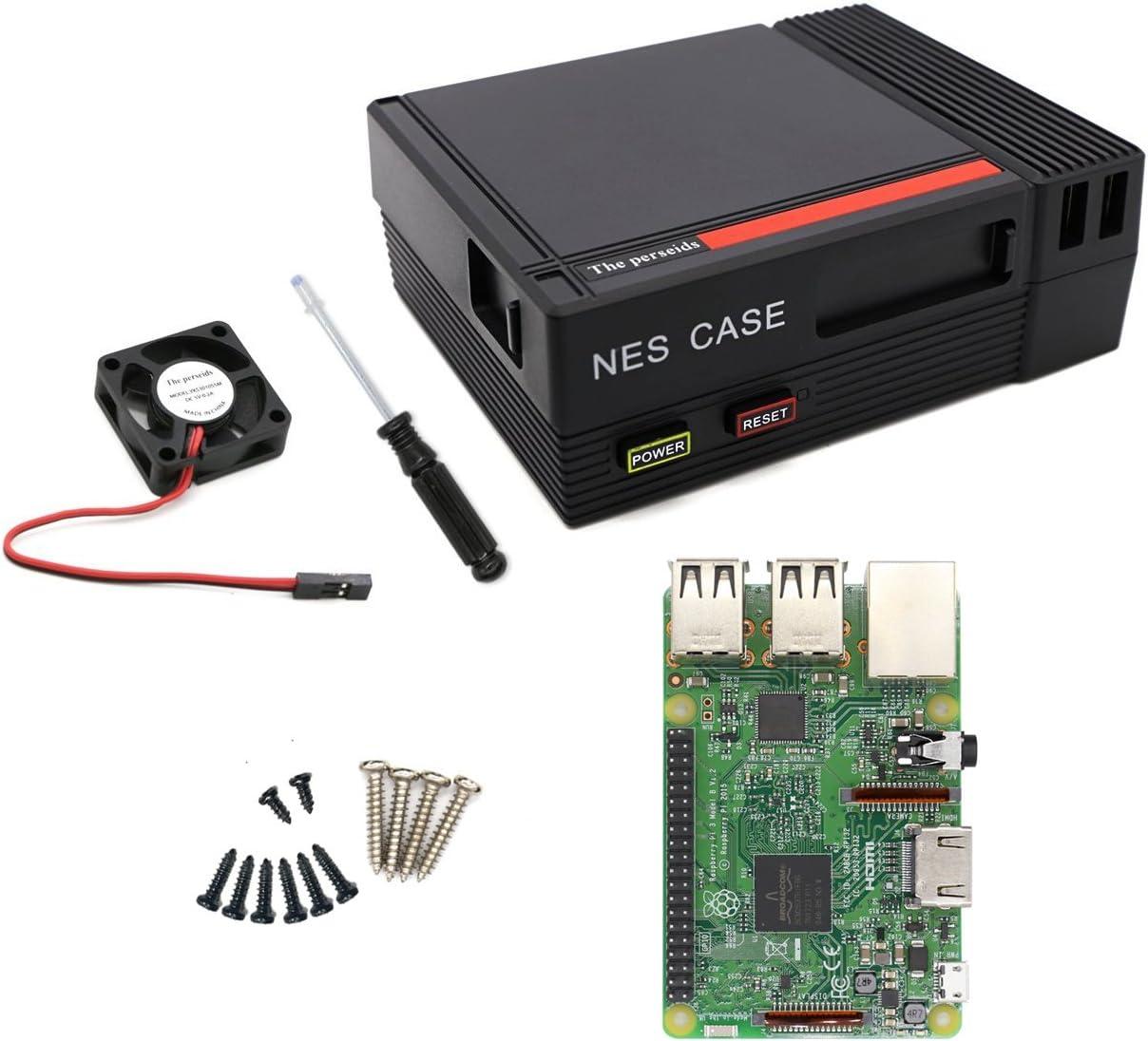 The perseids Raspberry Pi 3b Motherboard, CPU Quad Core 1,2GHz Broadcom BCM2837 64bit (Y Enviar Estuche NES Negro Caja + Ventilador de refrigeración sin Escobillas): Amazon.es: Electrónica