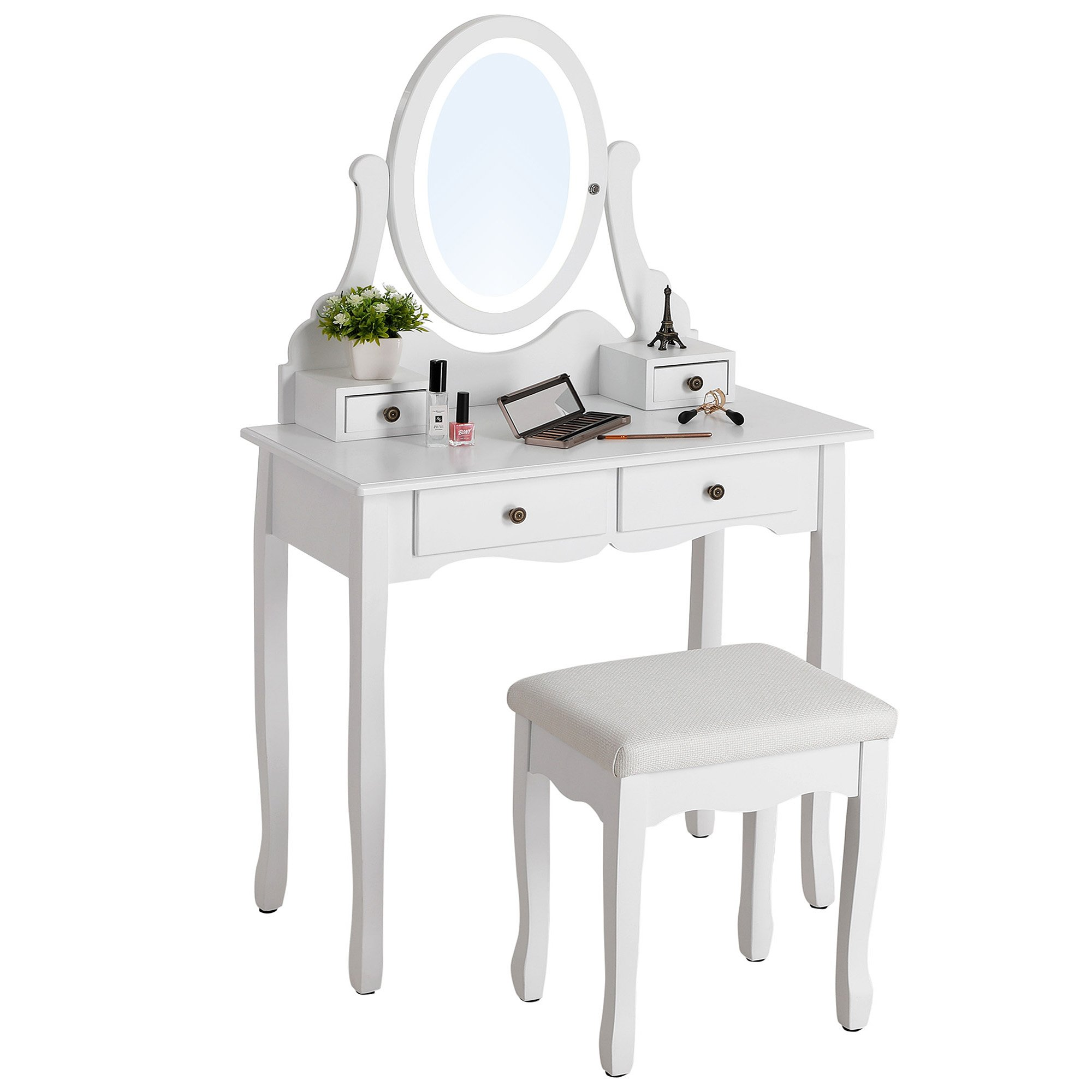 SONGMICS Vanity Table Set with Dimmable LED Lights and Mirror Makeup Dressing Table with 4 Drawers (2 Sets of Knobs) Cushioned Stool White URDT19W