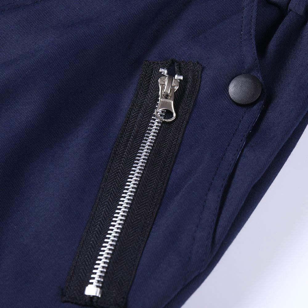 TIMEMEANS Fashion Mens Zipper Patchwork Cotton Casual Sweatpants Drawstring Pant