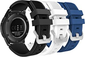 MoKo Band Compatible with Samsung Galaxy Watch 3 45mm/Gear S3 Frontier/Classic/Galaxy Watch 46mm//Huawei Watch GT2 Pro/GT 2e/GT 46mm/GT2 46mm/Ticwatch Pro 3, [3-Pack] 22mm Silicone Strap,Multi Color A