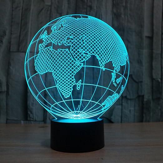 3D Lampe Illusion Globe Europe LED Veilleuse Optique Lumière