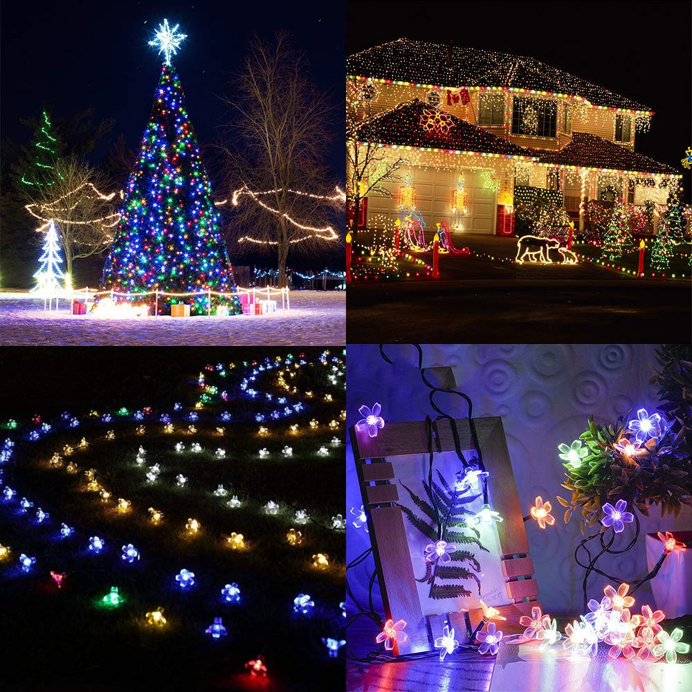 Solar Garden String Lights,Cshare Solar Powered Fairy Lights Outdoor 50 LED 22ft 8Modes Waterproof Outdoor Flower String Lights for Yard, Christmas Tree, Home, Wedding,Party Decorations (Multi Colour)