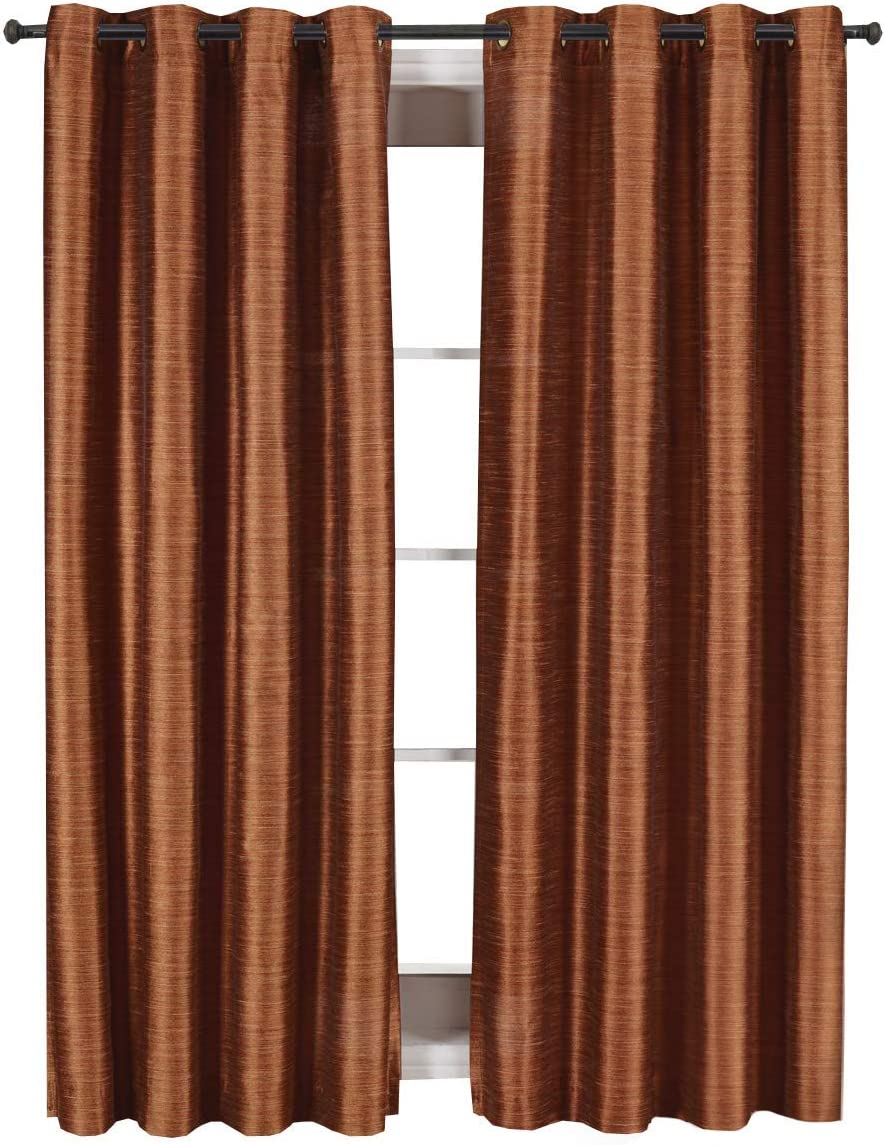 Royal Tradition Geneva 104-Inch Wide x 108-Inch Long, Set of 2 Grommet Top Blackout Curtains and Drapes, Rust