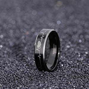 Greenpod 6mm 8mm EKG Heartbeat Wedding Band Silver Black Tungsten Carbide Ring for Men Women Comfort Fit Size 4-15