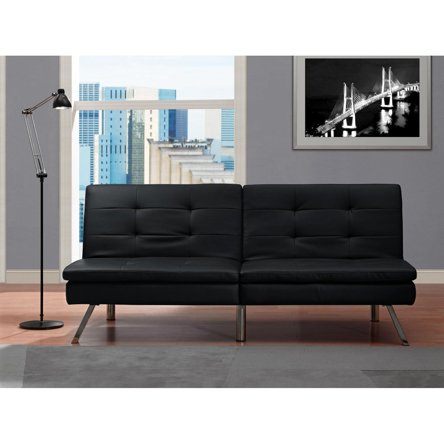Amazon Black Modern Sectional Sofa Futon Convertible Sleeper