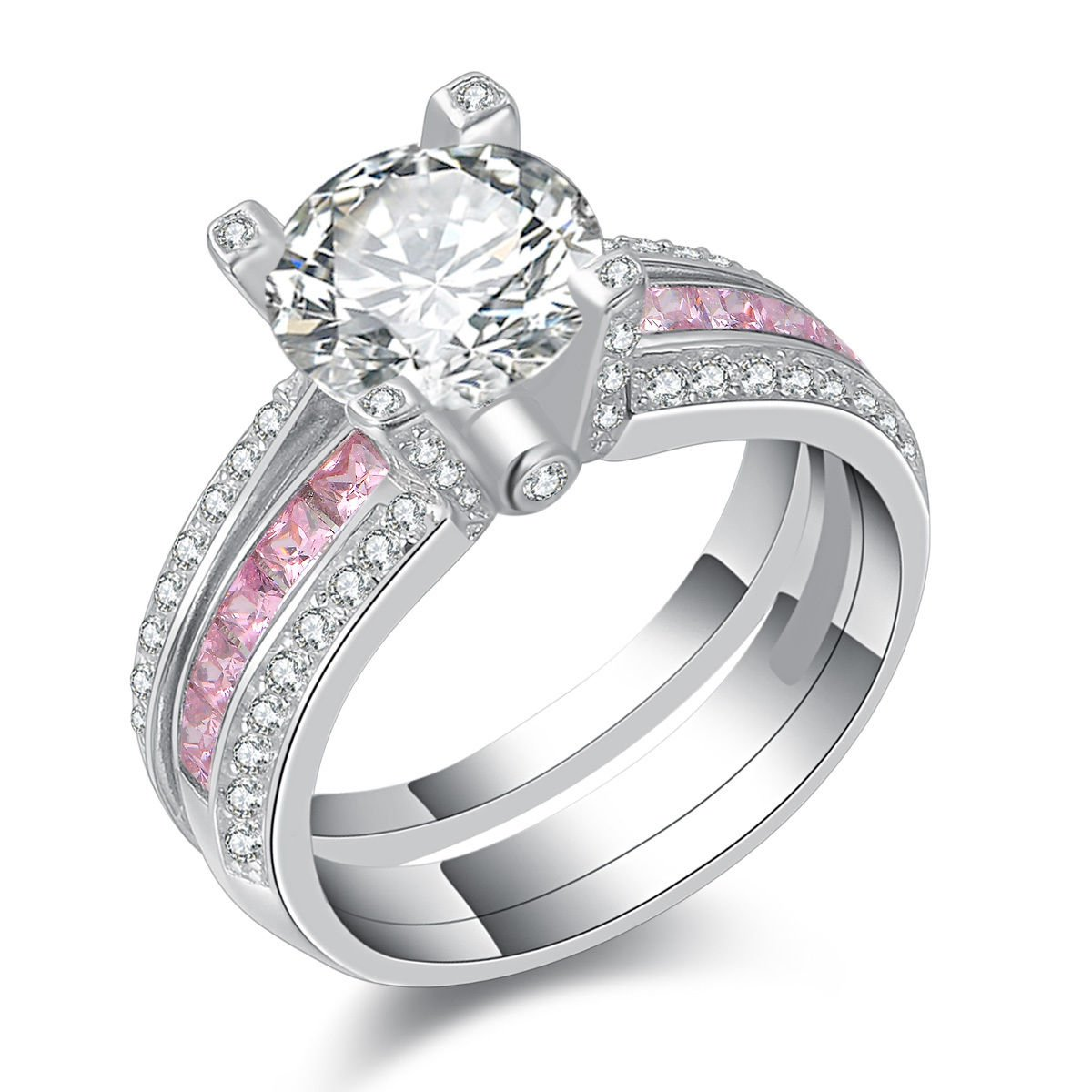 Newshe Jewellery Round Pink Cz 925 Sterling Silver Wedding Band Engagement Ring Sets Size 5-10 JR4579_SS_P