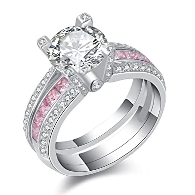 newshe jewellery round pink cz 925 sterling silver wedding band engagement ring sets size 5 - Sterling Silver Wedding Ring Set