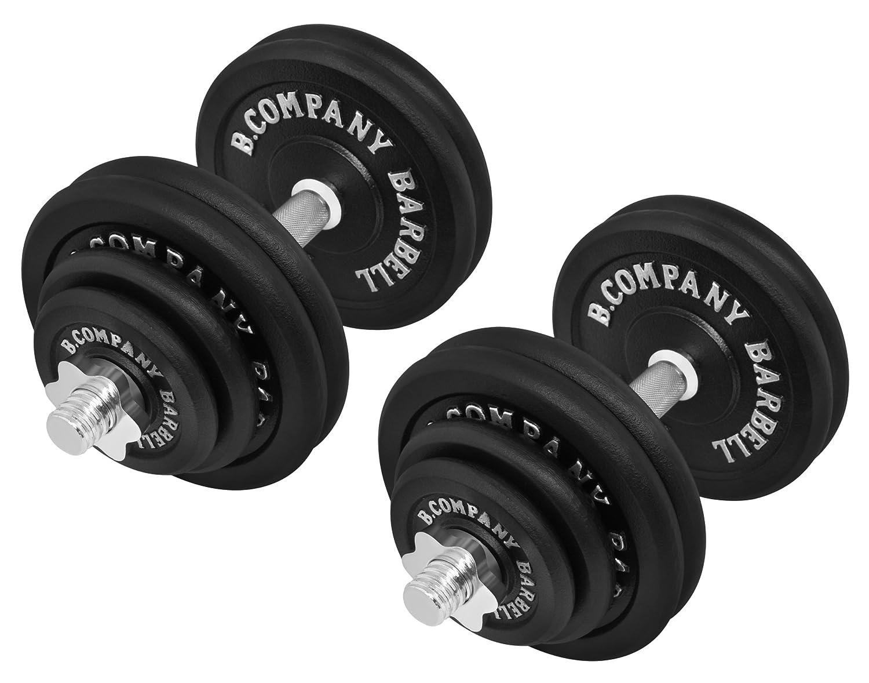 Bad Company Guss Kurzhantel-Set 60Kg (2 x Kurzhantelstange 40cm, 4x1,25, 4x2,5 und 8x5Kg Hantelscheiben) Hantelset Hanteln Gewichte