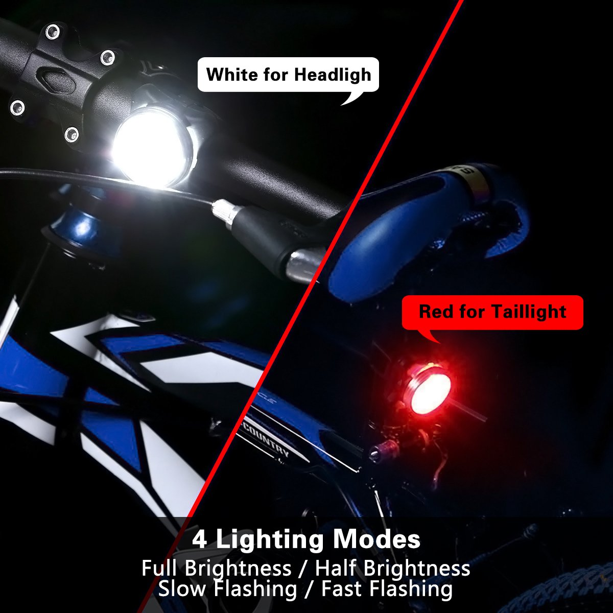 Rechargeable LED Bike Lights Set, FuPany Waterprooof Bicycle Headlight(White) Taillight(Red) Combinations LED Front Back Cycling Flashlights Head Rear Lamp, 4 Light Modes, 2 USB Cables