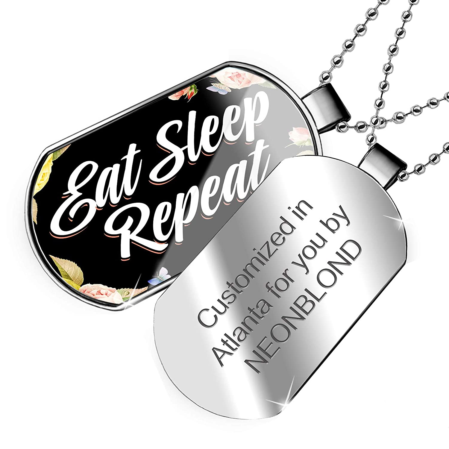 NEONBLOND Personalized Name Engraved Floral Border Eat Sleep Repeat Dogtag Necklace