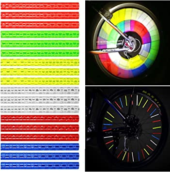 72PCS Bike Spoke Reflectors Mount Strip Warning Strips Night Safety Accessories