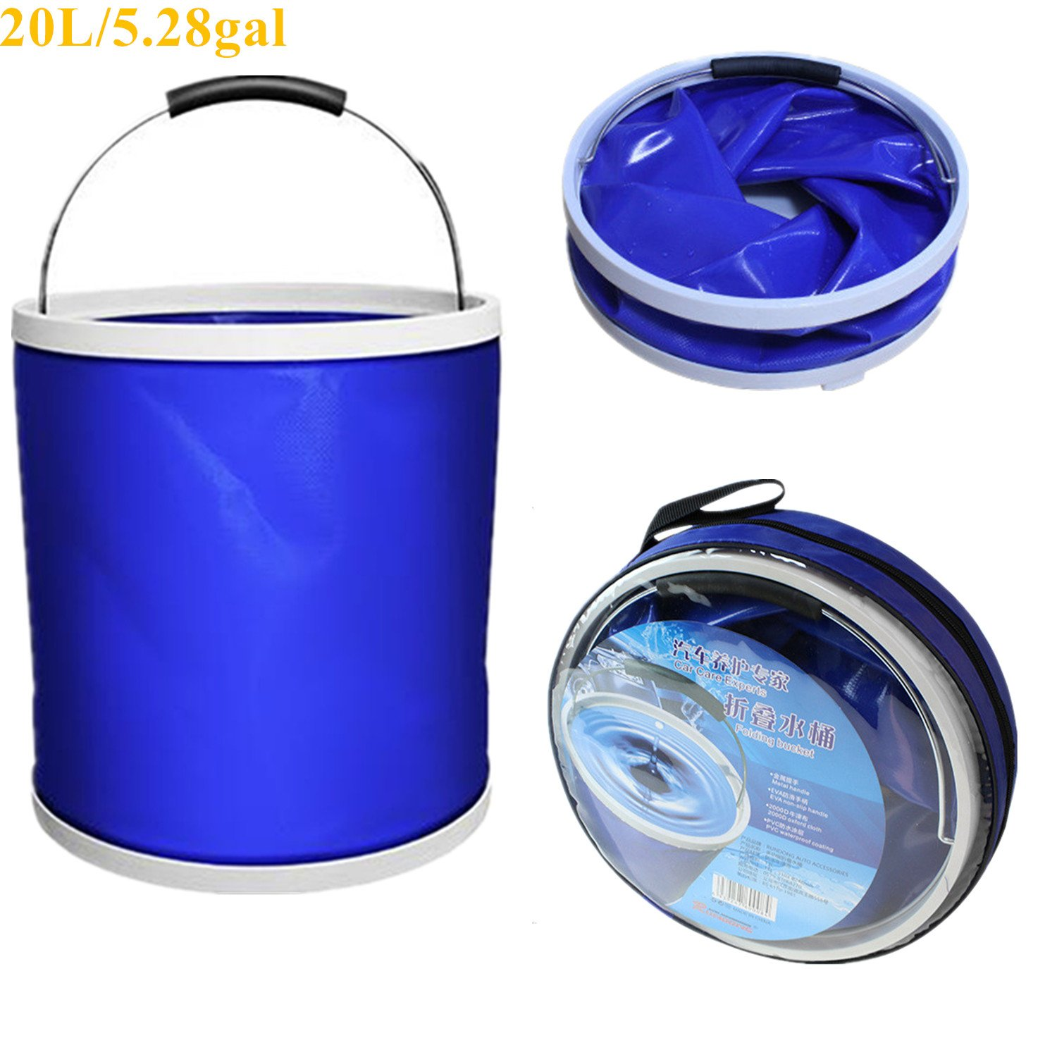 Camping Collapsible Bucket - Folding Multifuctional Water Container| Lightweight Portable Large Bucket| Car Cleaning Wash Bucket Pail| For Outdoor Camping, Hiking, Fishing, Washing & Gardening