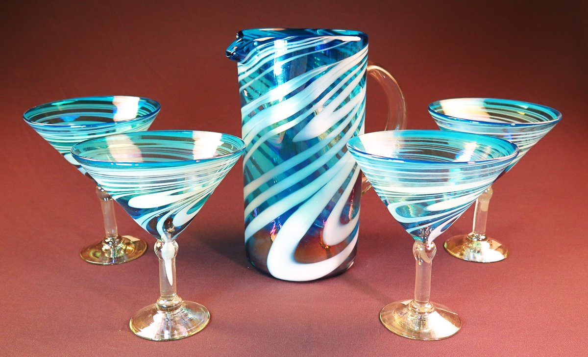 Mexican Margarita/ Martini Glasses and pitcher, Turquoise White Swirl, Hand Blown 15 oz set of 4 by Mexican Margarita Glasses (Image #1)