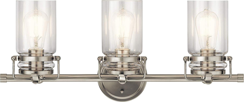 Kichler 45689NI Brinley Vanity, 3-Light 225 Total Watts, Brushed Nickel - -