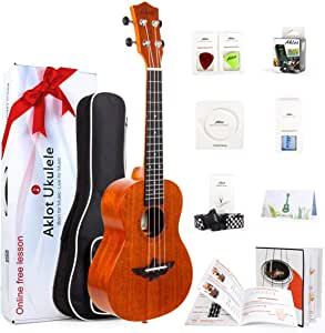 Ukulele Uke With Free Online Course 8 Packs Beginner Starter Kit (Gig Bag Picks Tuner Strap String Cleaning Cloth Instruction Book Gift Box) From AKLOT (23 inch)