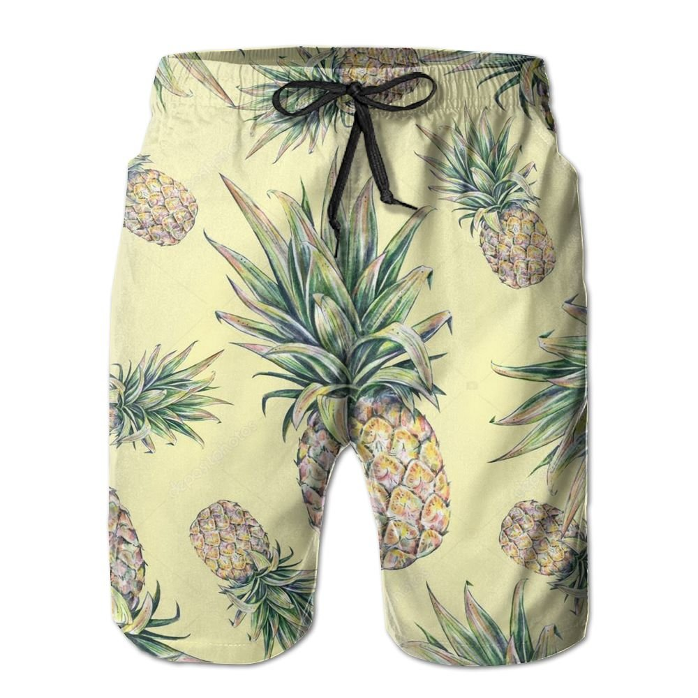 Qpkia Pineapple On A Yellow Background Men Swimwear Volley Pants Pocket
