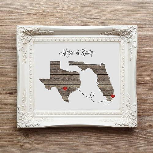 Wedding Engagement Present Gift Double Heart Wedding Gift Word Art