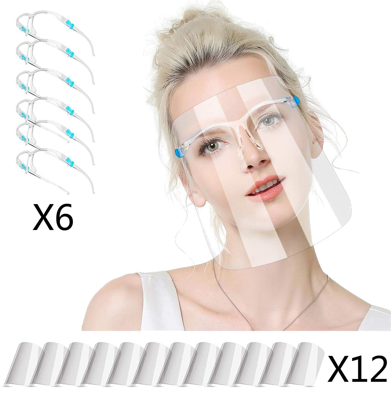 Face/_Shield/_Visor possono essere pulite HONYAO Visiere/_Protettiva Trasparente per donna e uomo 6 + 12 sostituibili e riutilizzabili