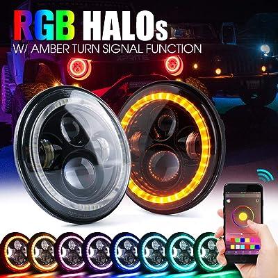 "Xprite 7\"" Inch RGB LED Headlights, CREE Led Chip Bluetooth Headlight w/Halo Ring DRL and Turn Signal Function, 90W Hi/Lo Beam Round Headlamps for Jeep Wrangler JK TJ LJ 1997-2020: Automotive [5Bkhe1008810]"