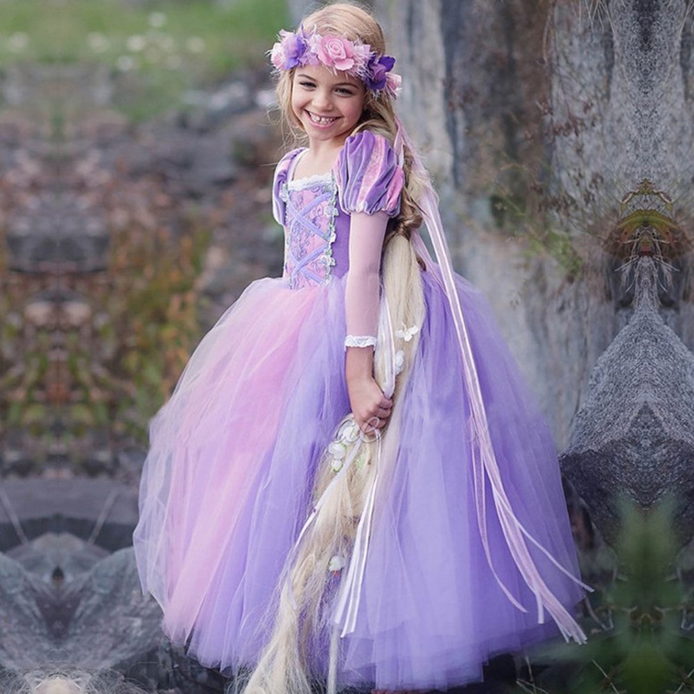 Fashionwu Girl Delicate Lace Long Dress Elegant Lovely Fluffy Princess Dress for Halloween Show