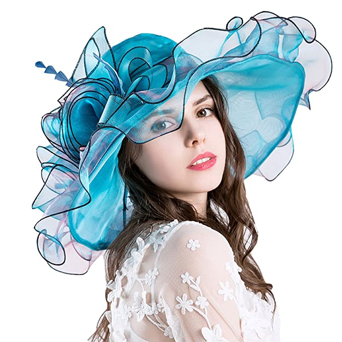 4691e139786c7 30th floor Womens Kentucky Derby Hats Fascinator Bridal Tea Party Wedding  Hat Wide Brim Sun Hat (Blue)  Amazon.ca  Clothing   Accessories