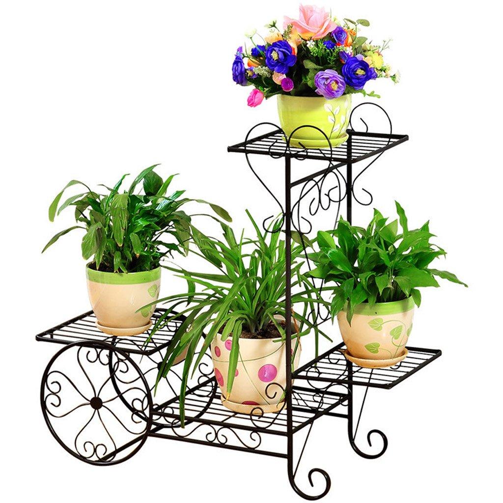 CJH Eisen-Blumen-Stand-Boden-Blumentöpfe im europäischen Stil Wohnzimmer Balkon mehrstöckigen Indoor-grünen Radieschen Multifunktions-Blumen-Regal ( Color : Black )