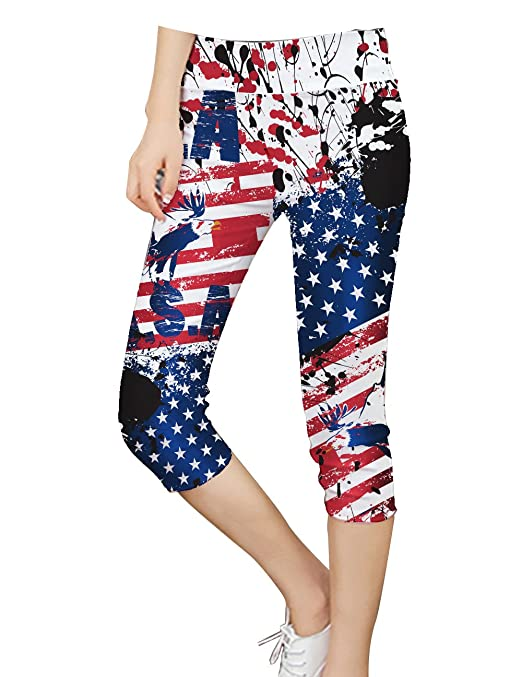 Pop Fashion Womens, USA, American Flag, Print Leggings, Patriotic, Womens Clothing, Fourth Of July, Independence Day