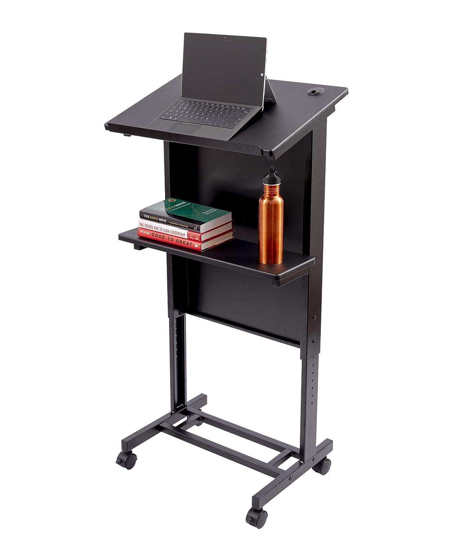 Stand Up Desk Store Mobile Adjustable Height Lectern Podium, Heavy Duty Steel Frame Black Frame Black Shelves