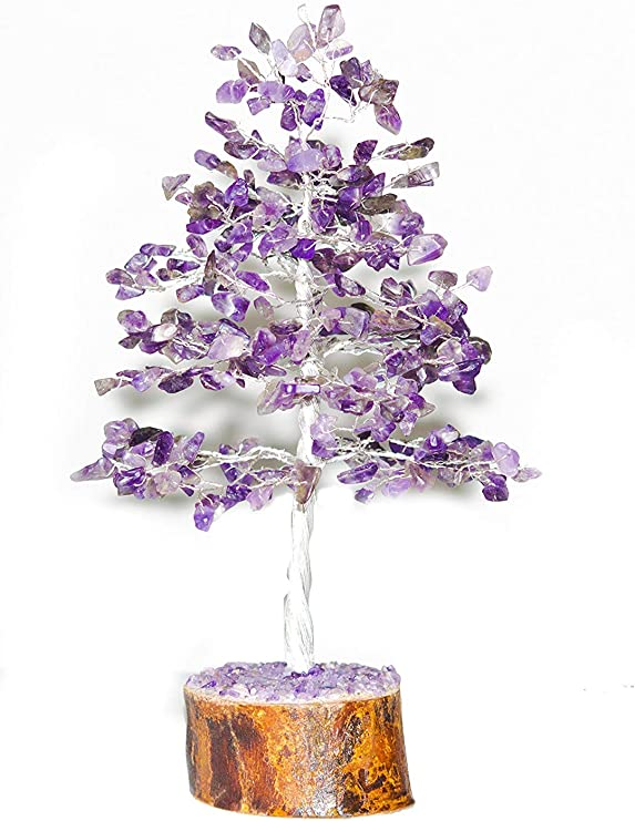 YATHABI Amethyst Silver Wire with Quartz Rough Stone for Reiki Healing Feng Shui Bonsai Money Tree Natural Gemstone Good Luck Chakra Balancing Crystal Healing Size 10-12 Inch Approx