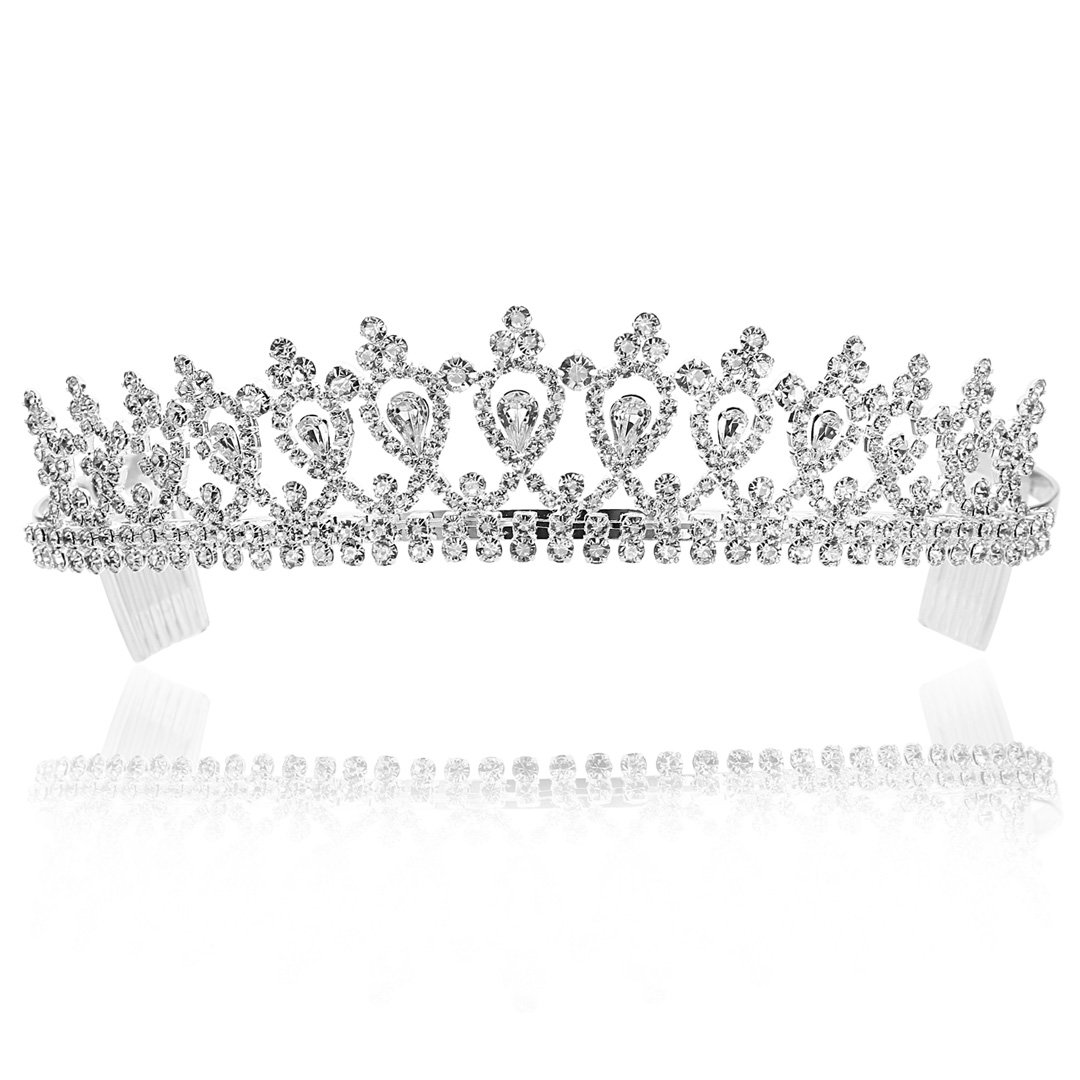 Venus Jewelry Bridal Pageant Rhinestones Wedding Tiara Crown - Silver Plated Clear Crystals (T496)