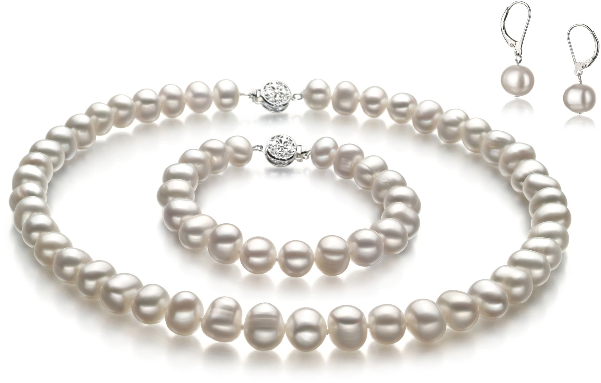 PearlsOnly - Kaitlyn White 8-9mm A Quality Freshwater Cultured Pearl Set-18 in Princess length