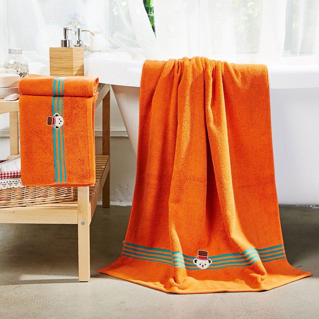CHENGYI Reiner Baumwolle Einfarbig Badetuch Home Hotel Soft Saugfähigen Badezimmer Handtücher (Badetuch  1 + Handtuch  2) ( Farbe : Orange )