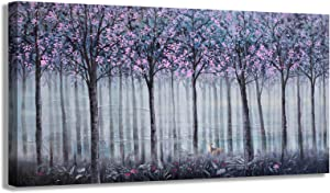 Living Room Wall Decor Large Wall Art Canvas Art Wall Decor Abstract Purple Gray Trees Prints Modern Framed Wall Decor for Bedroom Pictures Artwork Wall Decorations for Living Room Home Kitchen 24x48