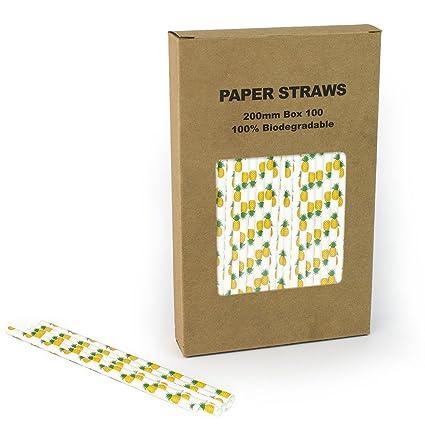 Amazon com: Yellow Pineapple Paper Straws Bulk, Kids Cute
