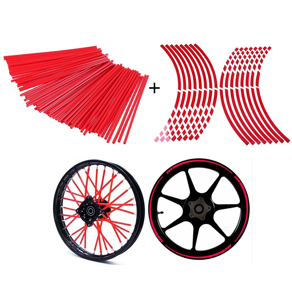 POSSBAY 72Pcs Wheel Spoke Skins Wraps + 16Pcs Wheel Rim Reflective Sticker Tape 17''-19''